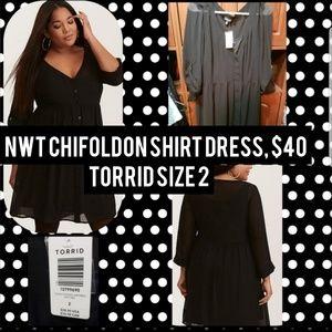 NWT, Torrid size 2, black chiffon shirt dress.